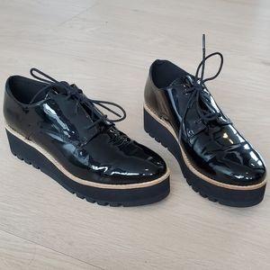 Eileen Fisher Black Patent Platform Shoes Size 6